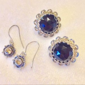 Jewelry - EARRINGS 💎 silver with gems 💎 2 Pairs
